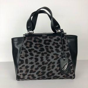 DVF calf-hair black & gray leopard purse